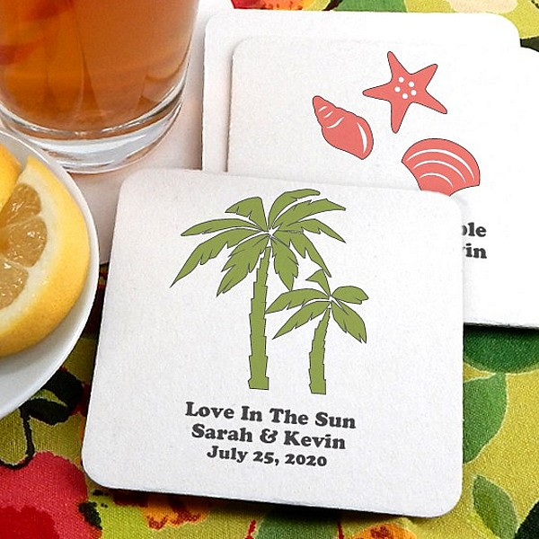 Square paperboard drink coasters personalized with beach wedding designs and custom print