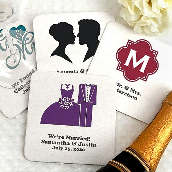 Square paperboard drink coasters personalized with wedding designs and custom print