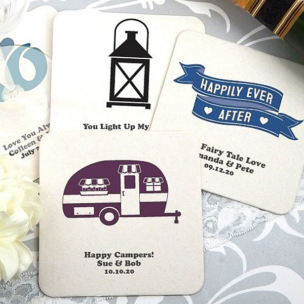 Square paperboard drink coasters personalized with retro wedding designs and custom print