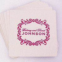 Custom printed square shaped white pulpboard coasters personalized with Hot Pink imprint color, B-02 alternate scroll design, and two lines of text in Flemish lettering style