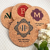 Eco-friendly round cork coaster wedding favors personalized with monograms, initials and custom print