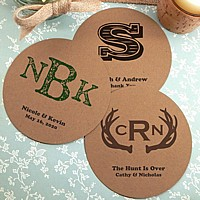 Brown Kraft paper board drink coasters personalized with wedding monograms and custom text