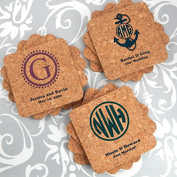 Eco-friendly cork coaster wedding favors personalized with monograms, initials and custom print