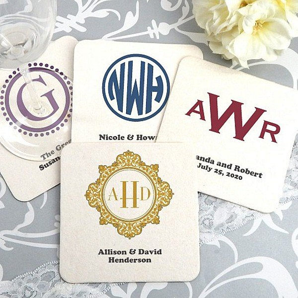 Square paper board drink coasters personalized with monogram designs and custom print