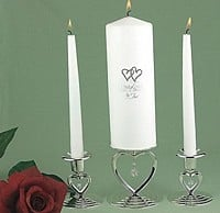 White Unity Candle with Double Hearts Design and Taper Candles