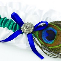 White satin garter with jade ribbon, royal blue bow and peacock feather accent