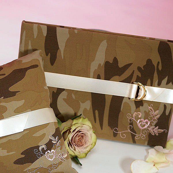 Camo wedding guest book with tan satin ribbon, gold and crystal D closure, and pink embroidered heart design