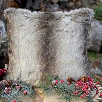 Chinchilla faux fur decorative throw pillow