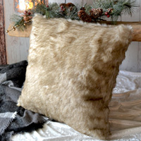 Fox faux fur decorative throw pillow