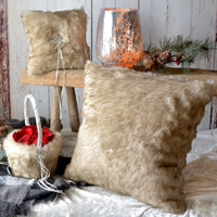 Faux fox fur wedding ceremony set including ring pillow, flower girl basket, and decorative throw pillow