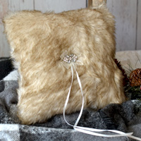 Fox faux fur wedding ring bearer pillow