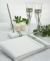 Celtic Charm toasting flutes set, guest book, and matching pen set