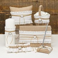 6 Pc Rustic Romance Burlap Wedding Accessories Collection