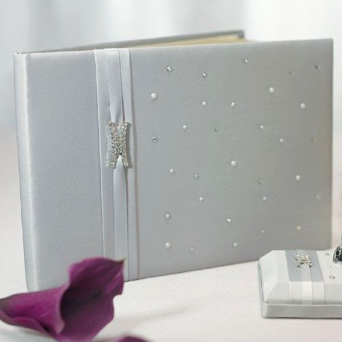 Guest book with silver Duchess Satin, rhinestones, crystals and pearls