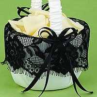 Ivory satin flower girl basket with black lace ruffle and black satin ribbon bows
