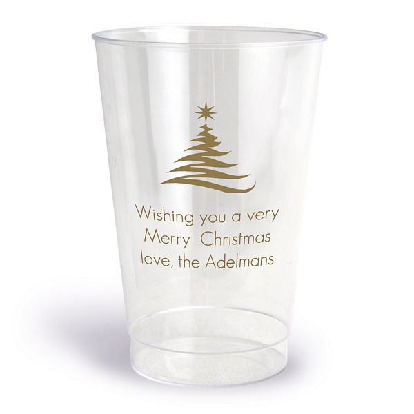 Clear plastic cups printed with gold imprint, 1322 design, and three lines of text in Futura lettering style