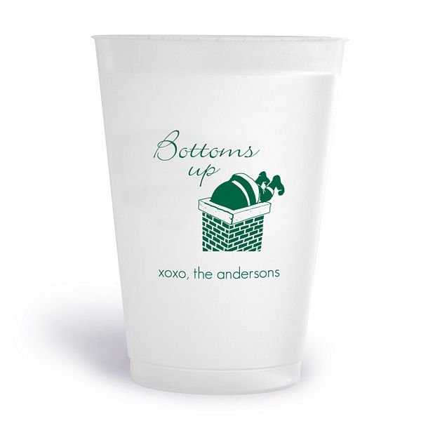 14 ounce frosted plastic cups printed with forest green imprint color, 1301 design, and three lines of print in Futura and Bickley lettering style with special placement requests