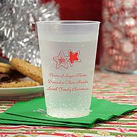 14 ounce frosted plastic cups printed with dark red imprint color, 2121 holiday design, and three lines of print in Park Avenue lettering style