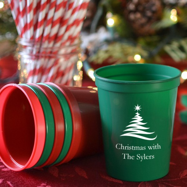 Christmas Party Cups 16 Oz Plastic Stadium Personalized