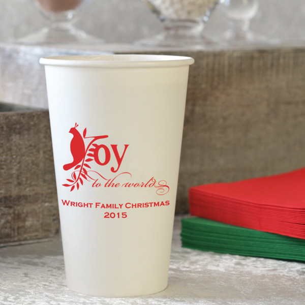 16 Oz. Custom Printed White Paper Christmas Party Cups