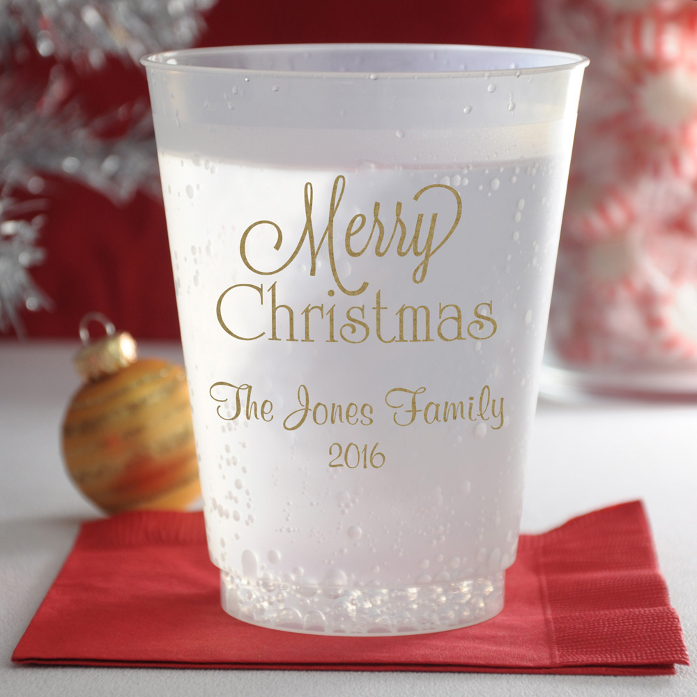 16 oz frosted plastic cups printed with gold imprint color, CS1109 design, and two lines of text in Fabulous lettering style