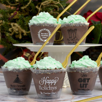 Frosted plastic holiday dessert cups with assorted christmas and new year's designs and imprint colors
