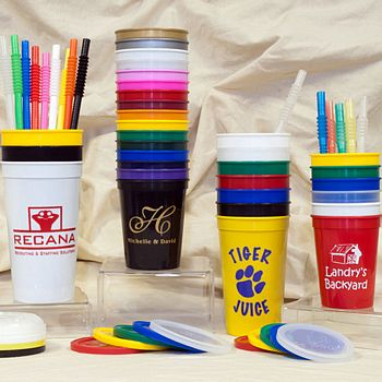 Assorted personalized stadium cups