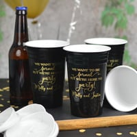 Insulated double-walled tumblers in Black with design and two lines of print in Gold imprint