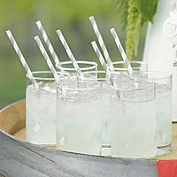 SIlver and White Striped Wedding Paper Drinking Straws