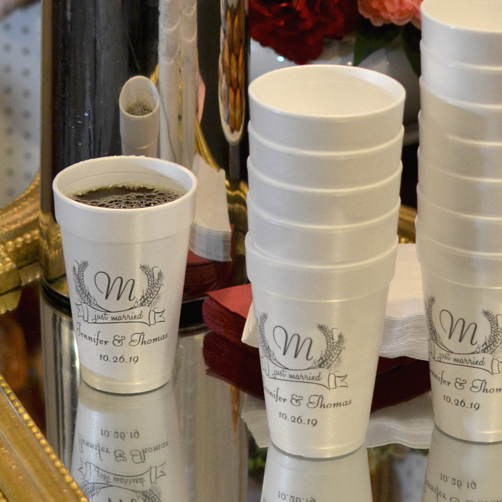 16 Ounce Styrofoam cups personalized with Wheat Monogram design, bride and groom's name and wedding date