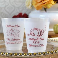 16 Ounce frosted plastic cups custom printed with F0001A and F0004 designs, Whirlwind lettering style, and Burgundy imprint color