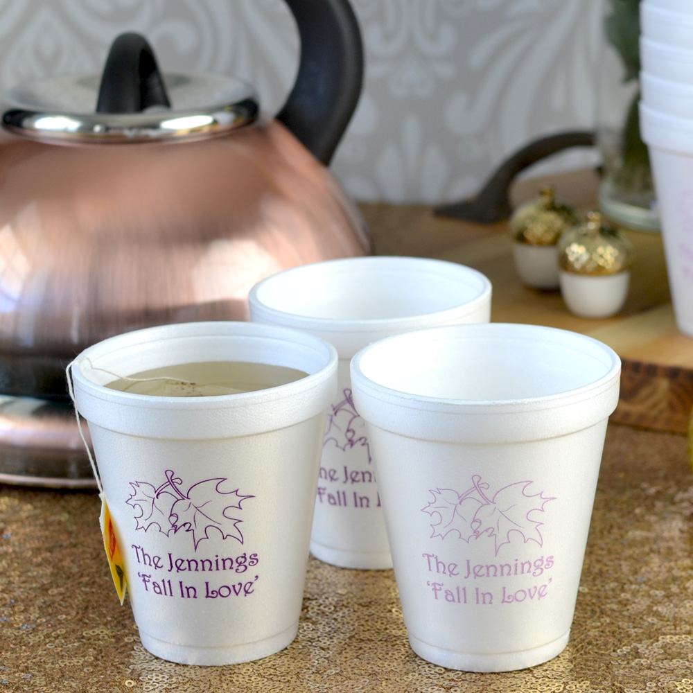 8 ounce styrofoam cup custom printed with Eggplant and Orchid imprint colors, F0004 design and Lovely lettering style