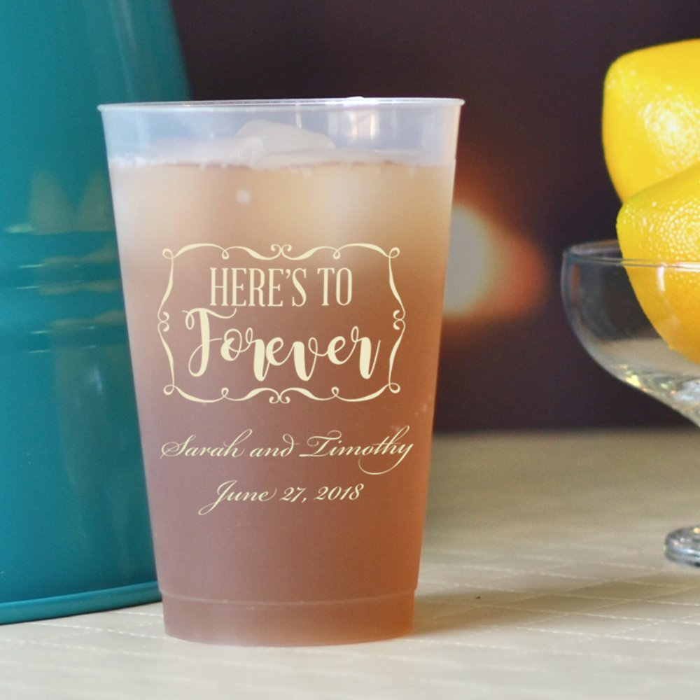 14 Oz. Personalized reusable frosted plastic wedding souvenir cups