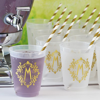 16 Oz Reusable Art Deco Initial Frosted Plastic Cups