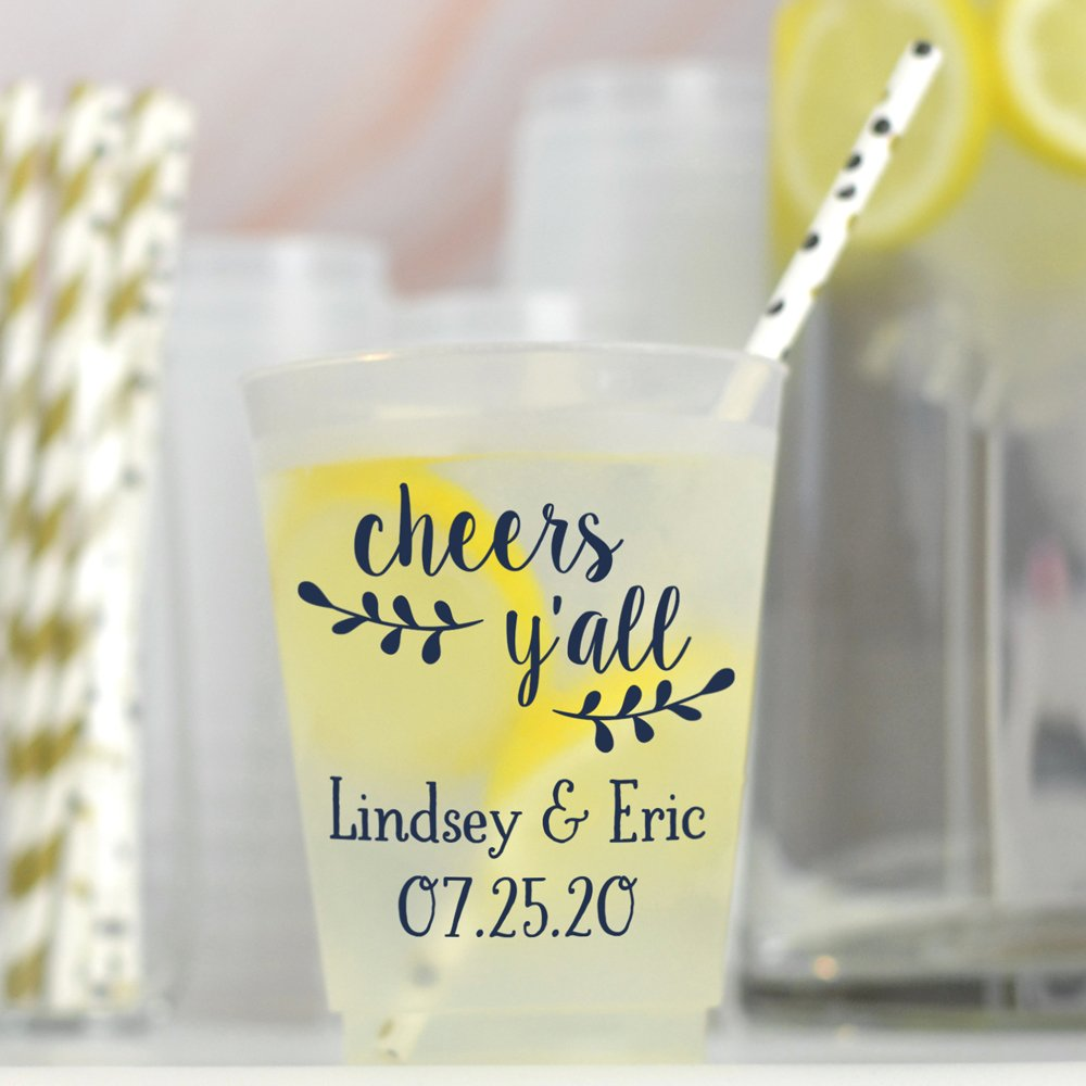 16 Oz. Personalized reusable shatterproof frosted plastic souvenir wedding cups