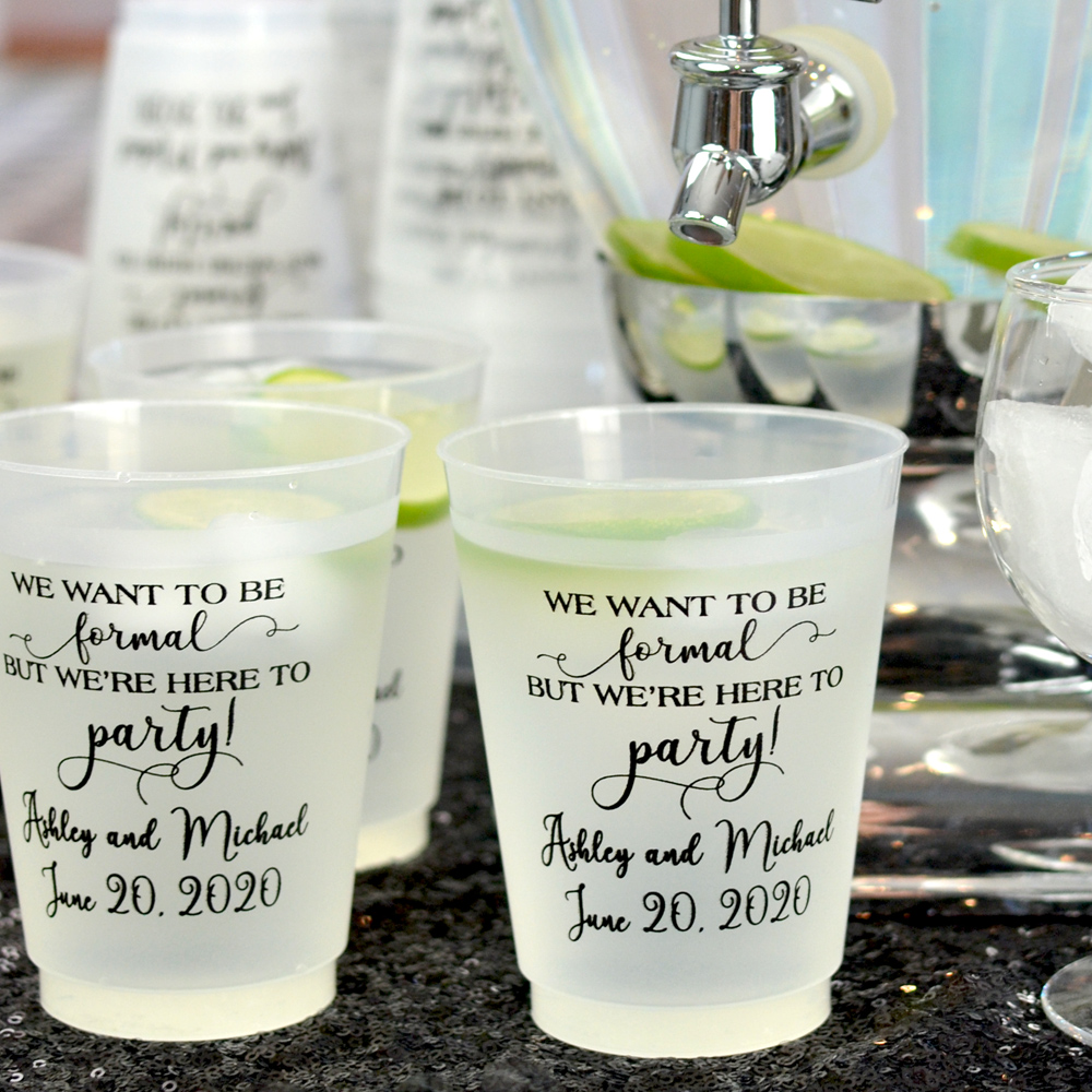16 Ounce frosted shatterproof cups personalizes with Here to Party design, Wispy letter style & Black imprint color