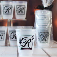 16 Oz Reusable Majestic Initial Frosted Plastic Cups
