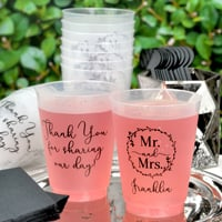 16 Ounce frosted shatterproof wedding cups personalizes with Here to Party design, Wispy letter style & Black imprint color