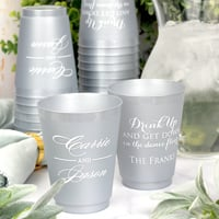 16 Ounce Silver frosted shatterproof wedding cups personalized with M-52 Monogram, W0017 design, Trajan letter style & White imprint color