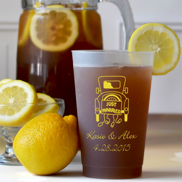 24 oz frosted plastic cup printed with light yellow imprint color, 1193 design, and text in Adorable lettering style