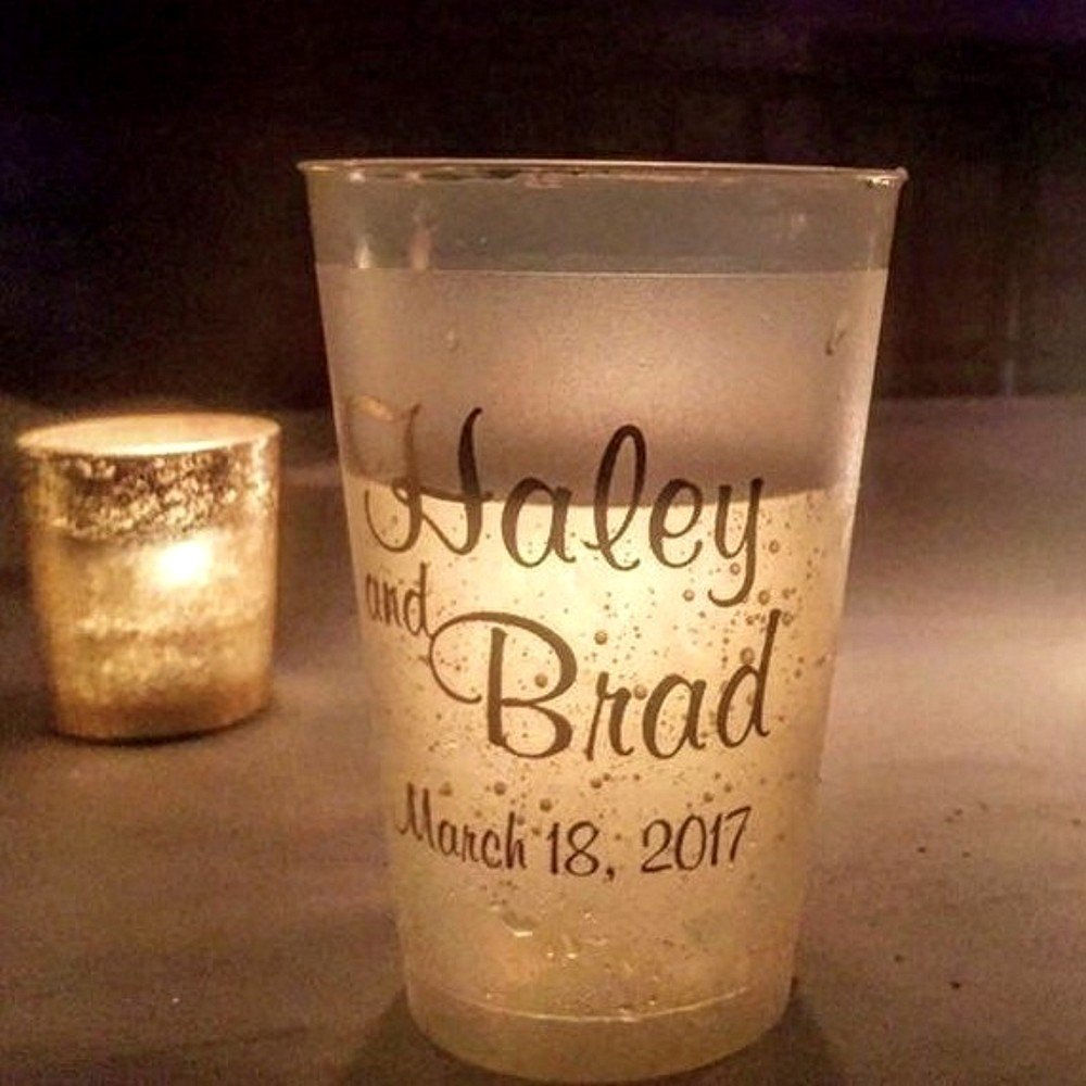 Frosted 14 oz. cup personalized with bride and groom's name and wedding date in M-54 monogram style, Fabulous letter style and Gold imprint color