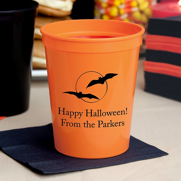 Halloween Party Cups 16 Oz Plastic Stadium Personalized