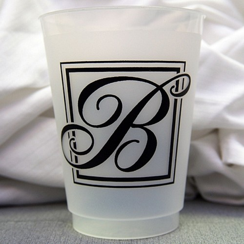 16 oz majestic initial frosted plastic wedding cups  pkg of 10