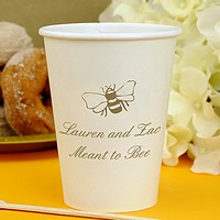 12 oz personalized white paper cups printed with animal design 2053, Original Script lettering style, and gold imprint color