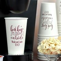 16 ounce custom printed white paper drink cups with burgundy imprint