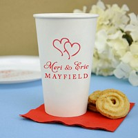 16 oz personalized white paper cups printed with wedding design 1224, red imprint color, and two lines of text with special instructions to print line 1 in Aphrodite lettering style and line 2, justified, in Americana lettering style.