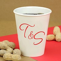 8 oz personalized white paper cups printed with monogram format M-36 and red imprint color
