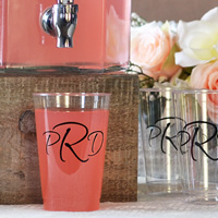 Monogrammed clear plastic 12 ounce cup