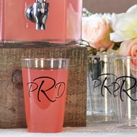 12 Ounce clear plastic tumblers personalized with three letter monogram