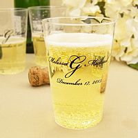 Personalized clear plastic drink tumbers in assorted sizes